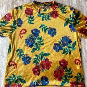 Vibrant Velvet Floral Top